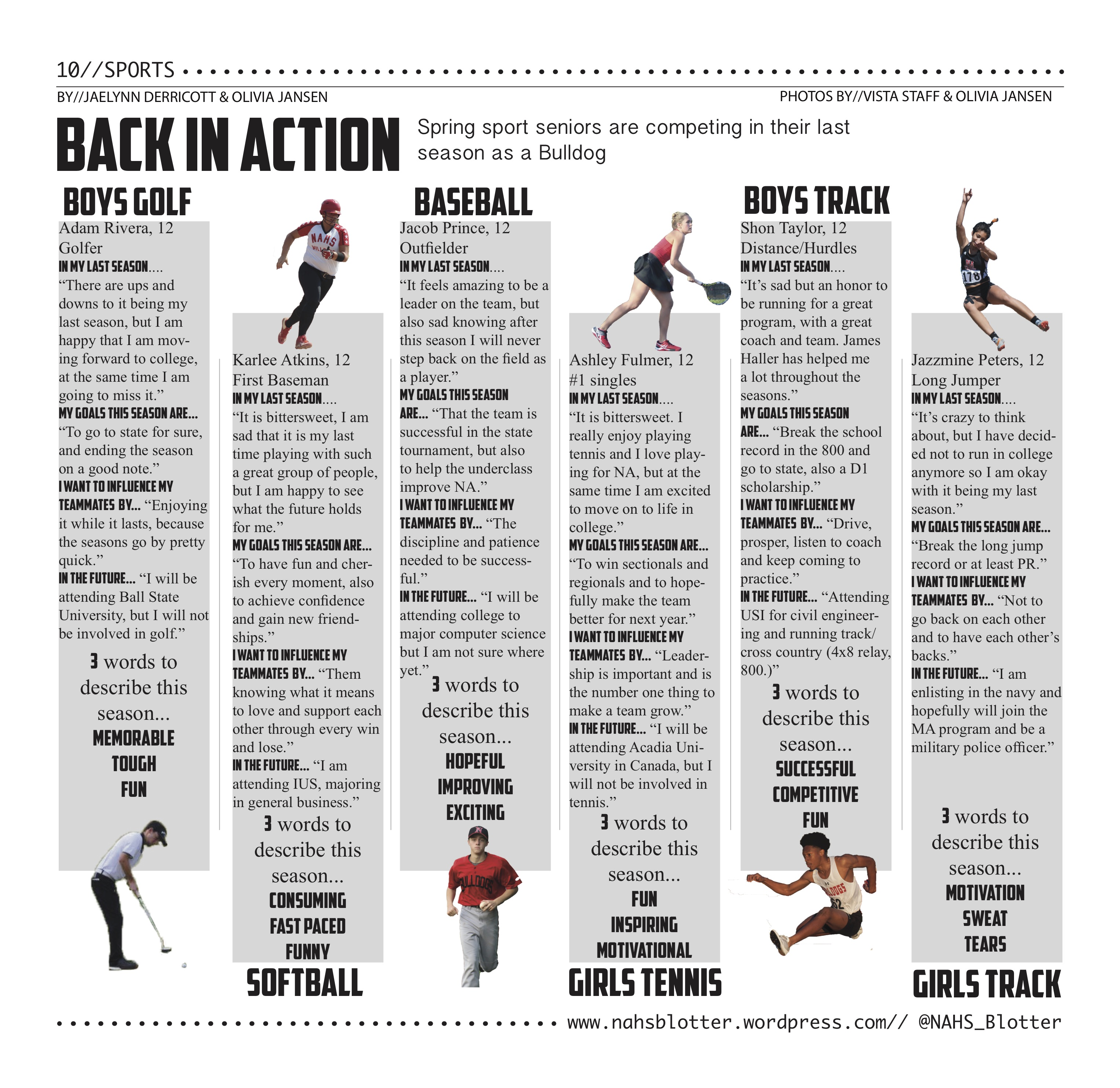 Spring sports: Back in Action // April Print Edition by//Jaelynn Derricott & Olivia Jansen