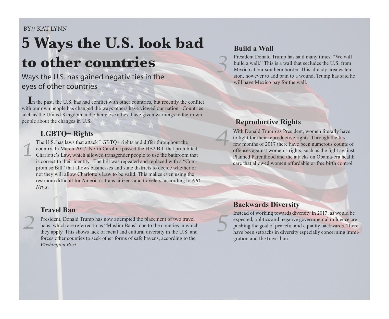 5 Ways the U.S. look bad to other countries by// Kat Lynn