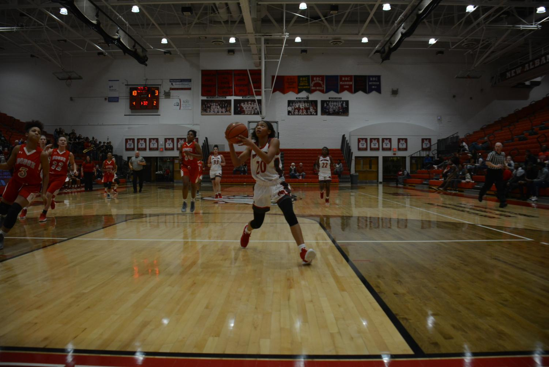 Freshman Maleea Roland looks to shoot the ball.