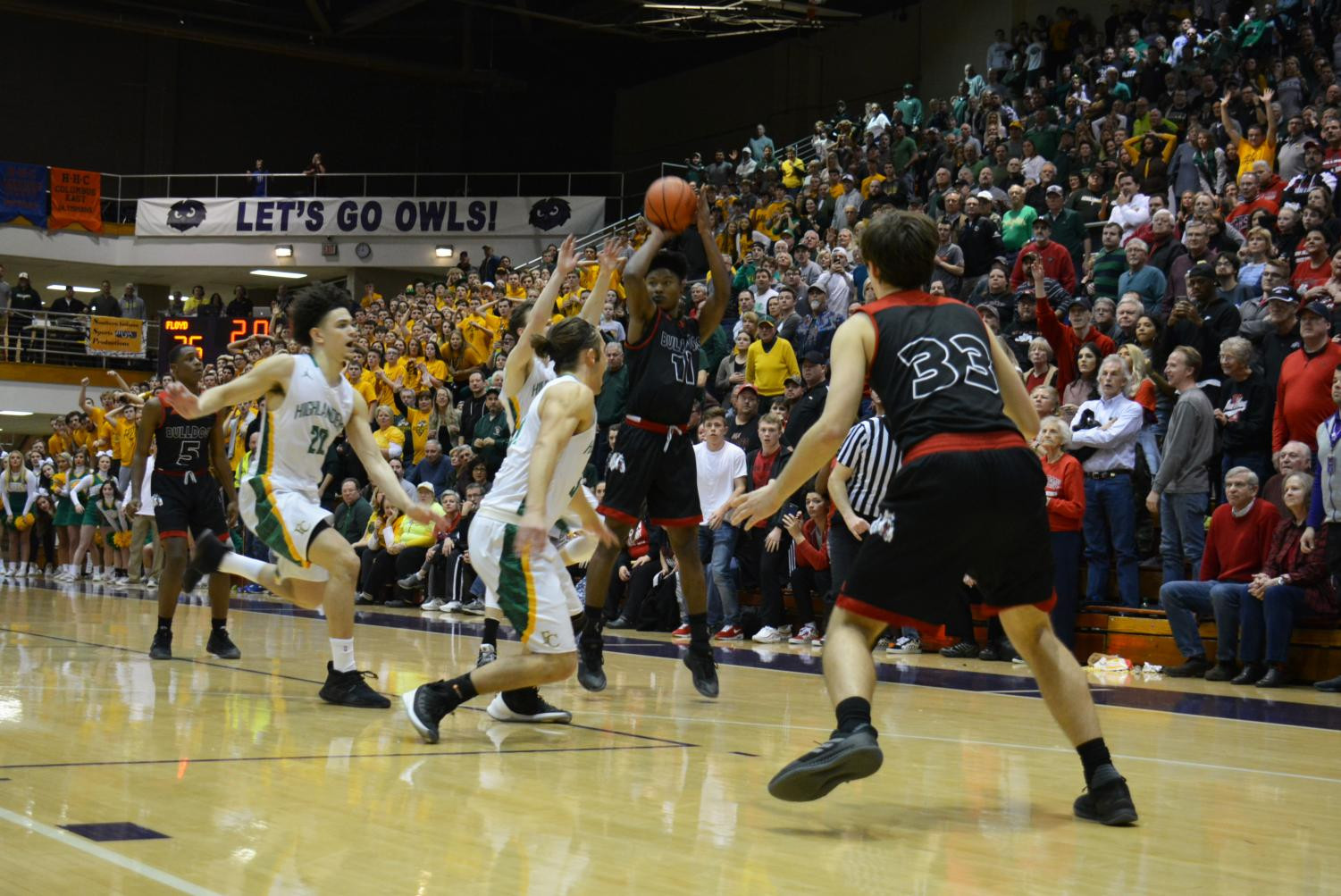 Stevenson pulls up for a three point with a second left in the game.